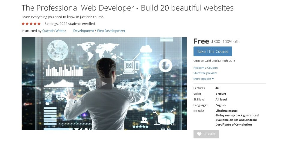 Free Udemy Course on The Professional Web Developer - Build 20 beautiful websites  (3)
