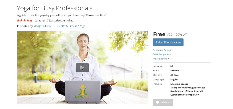 Free Udemy Course on Yoga for Busy Professionals