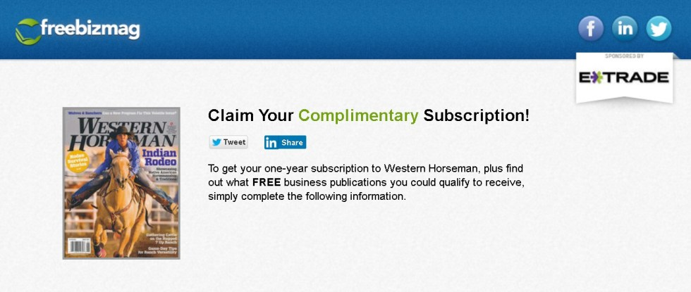 Free one-year subscription to Western Horseman Magazine