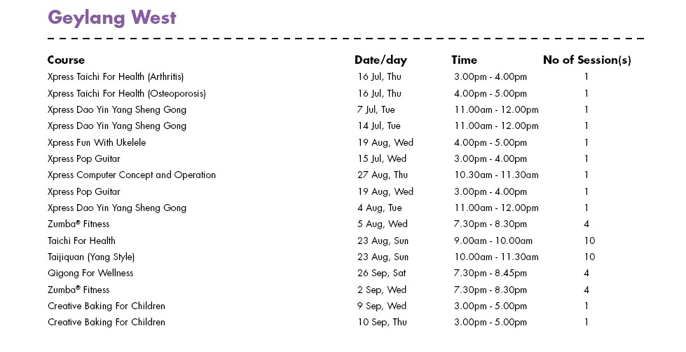 In Celebration of SG50 & PA Community Day Free Courses at Geylang West CC Singapore