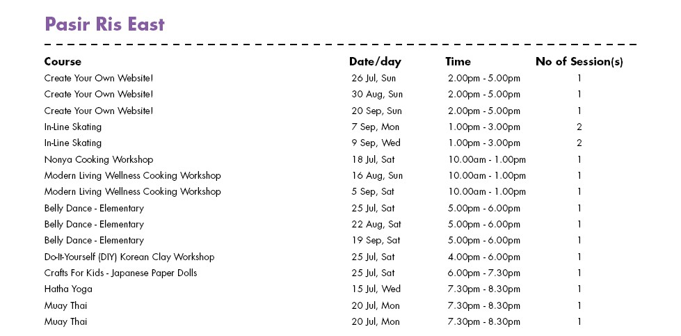 In Celebration of SG50 & PA Community Day Free Courses at Pasir Ris East CC Singapore