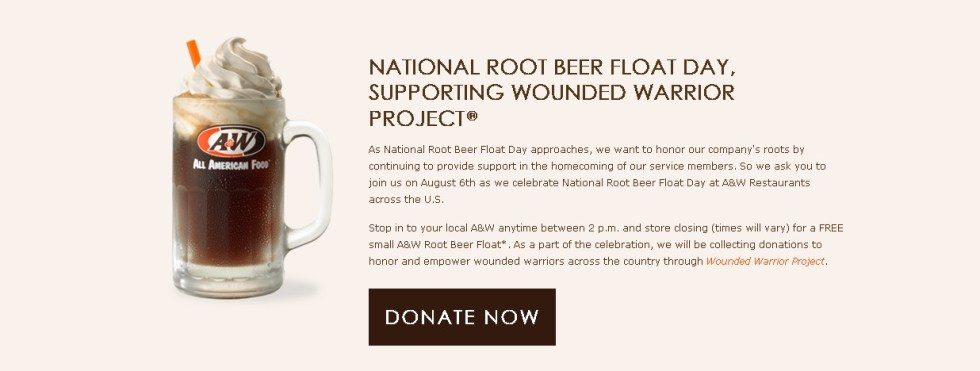 National Root Beer Flost Day at A&W- FREE small A&W Root Beer Float