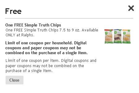 One FREE Simple Truth Chips at Ralphs USA2