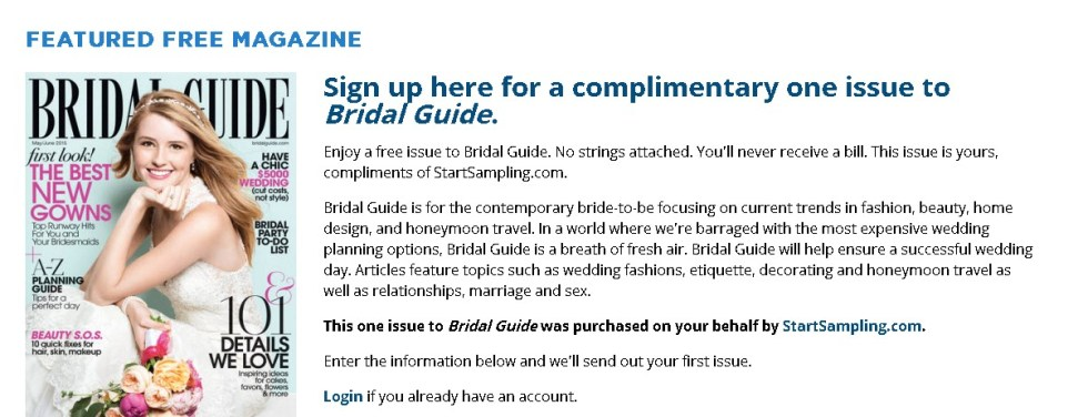 Sign up here for a complimentary one issue to Bridal Guide1