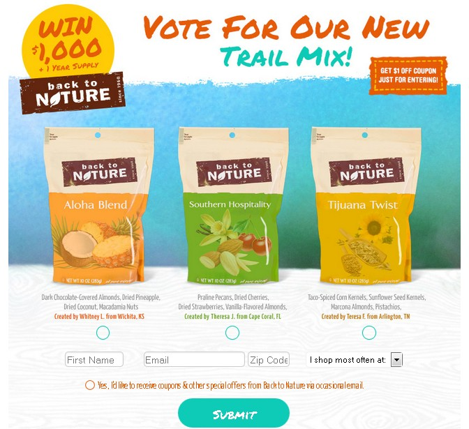 Win $1,000 + 1 year Supply of Back to Nature