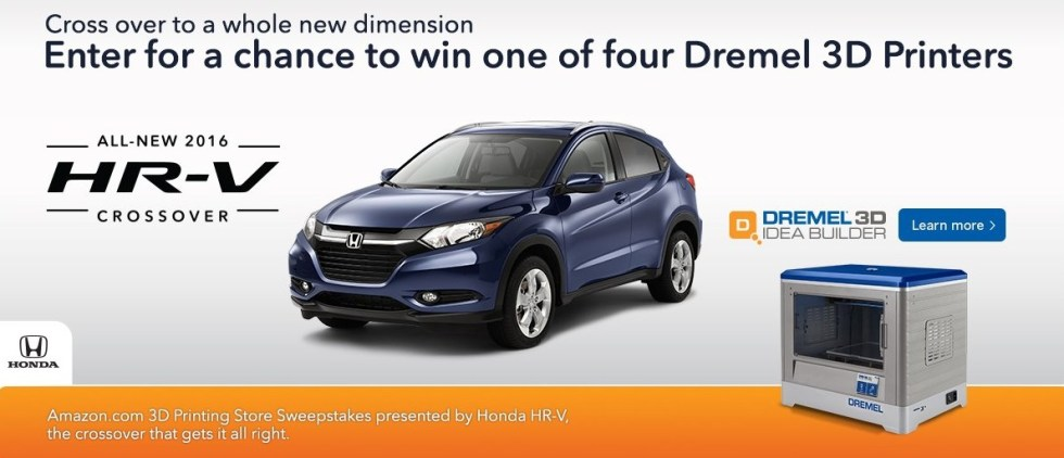 Amazon.com 3D Printing Store Sweepstakes by Hond HR-V