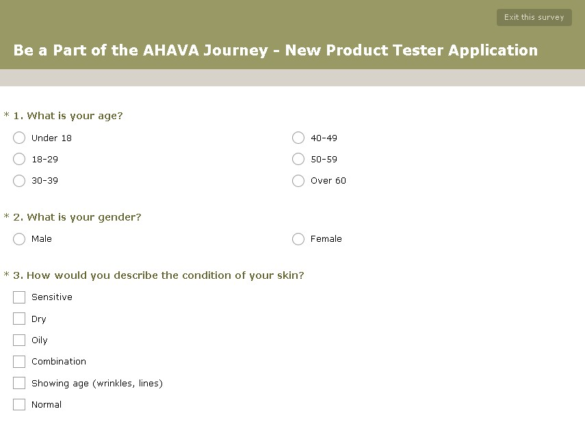 Be a Part of the AHAVA Journey - New Product Tester  Form