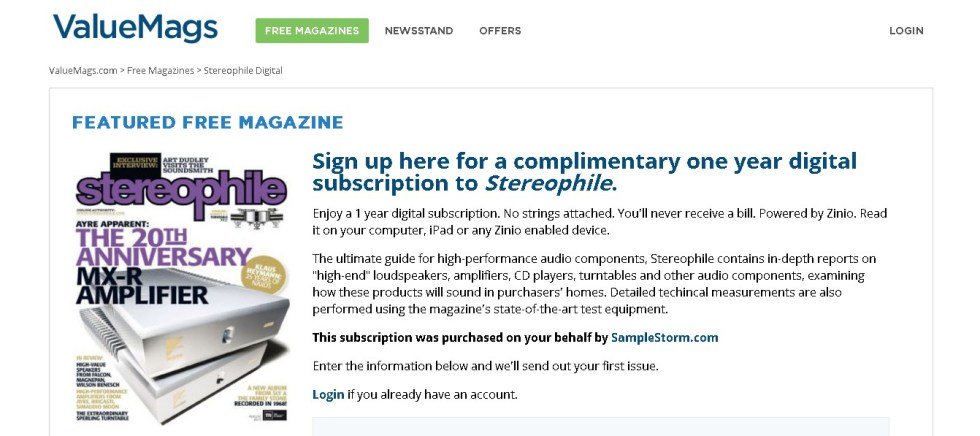 Complimentary one year digital subscription to Stereophile Magazine at ValueMags 1