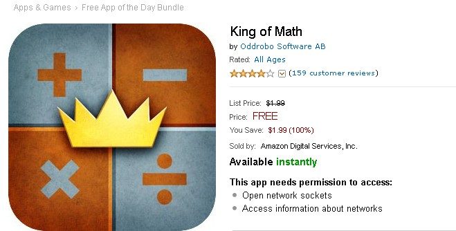 FREE Android APP King of Math at Amazon 1