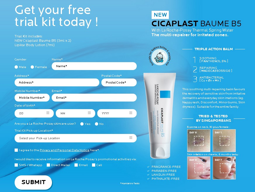 FREE CICAPLAST BAUME B5 Trial Kit at Laroche-Posay Singapore 1