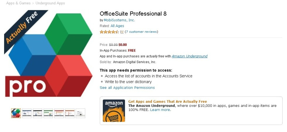 FREE OfficeSuite Professional 8 at Amazon 1
