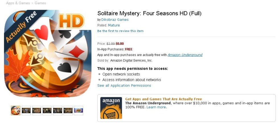 FREE Solitaire Mystery Four Seasons HD (Full) at Amazon