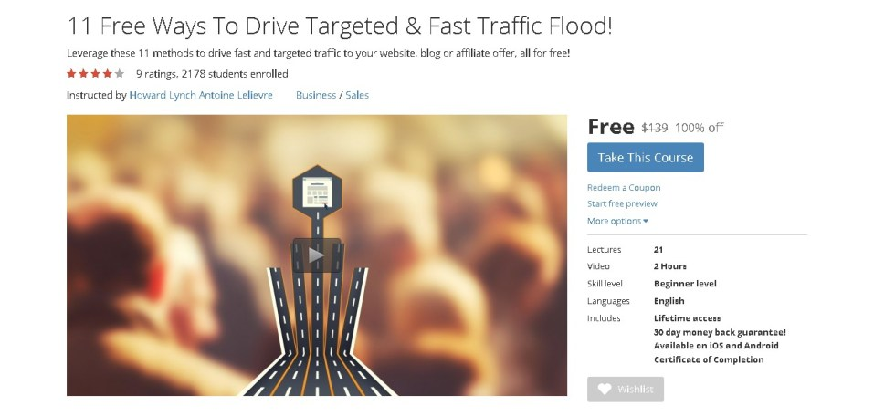 FREE Udemy Course on 11 Free Ways To Drive Targeted & Fast Traffic Flood