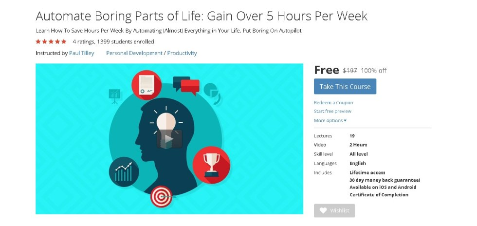 FREE Udemy Course on Automate Boring Parts of Life Gain Over 5 Hours Per Week