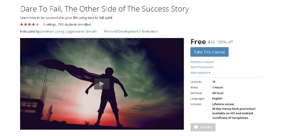 FREE Udemy Course on Dare To Fail, The Other SIde of The Success Story  1