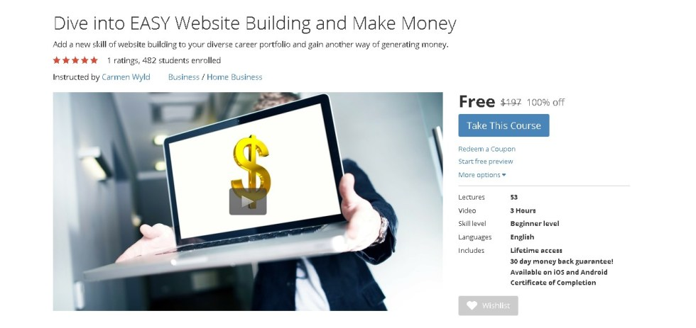 FREE Udemy Course on Dive into EASY Website Building and Make Money