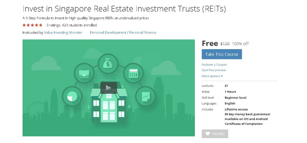 FREE Udemy Course on Invest in Singapore Real Estate Investment Trusts (REITs)