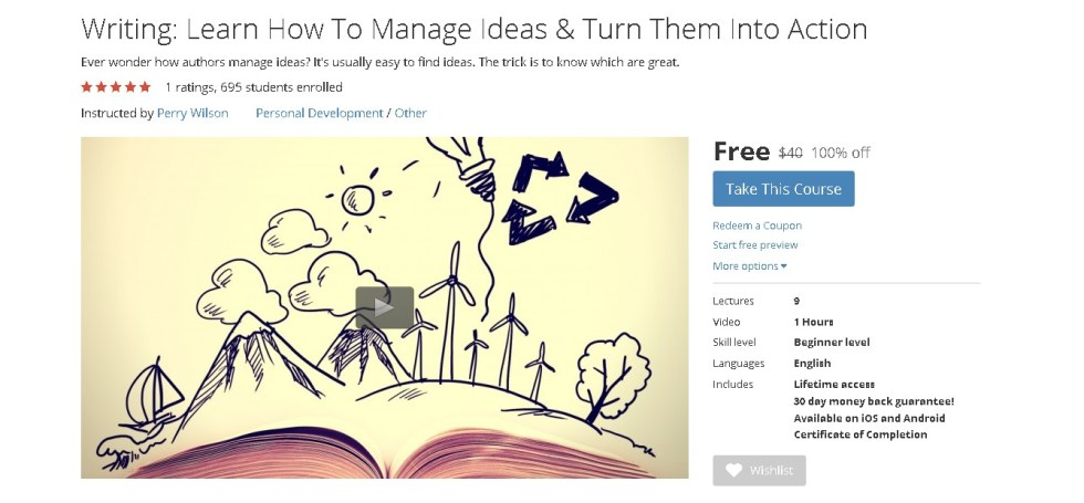 FREE Udemy Course on Writing Learn How To Manage Ideas & Turn Them Into Action