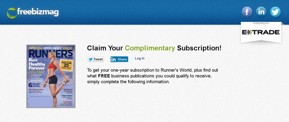 FREE one-year subscription to Runner's World Magazine 1