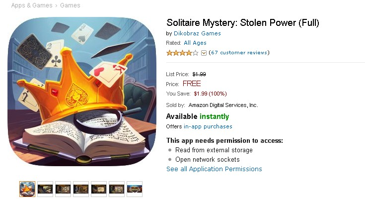 Free Android App @Amazon- Solitaire Mystery Stolen Power (Full)