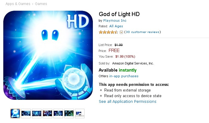Free Android Game @ Amazon God of Light HD