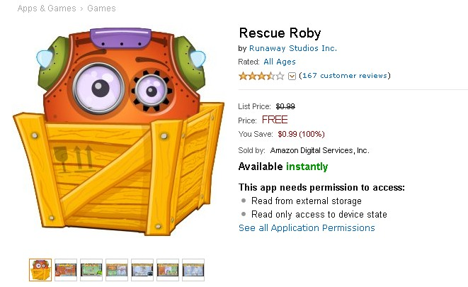 Free Android Game Rescue Roby at Amazon Appstore