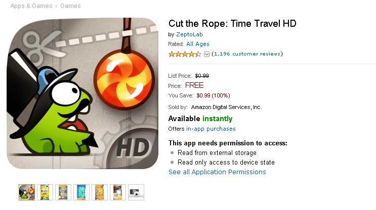 Free Android Game at Amazon- Cut the Rope Time Travel HD (2)