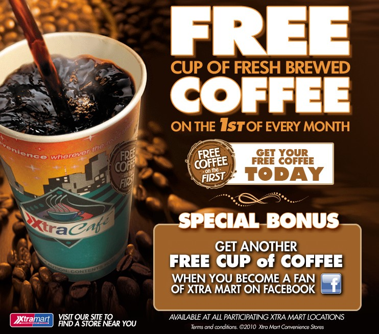 Free Cup of Fresh Brewed Coffee on the 1st of Every Month