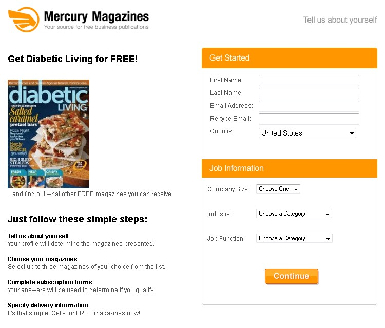 Free Diabetic Living Magazine at Mercury Magazines USA