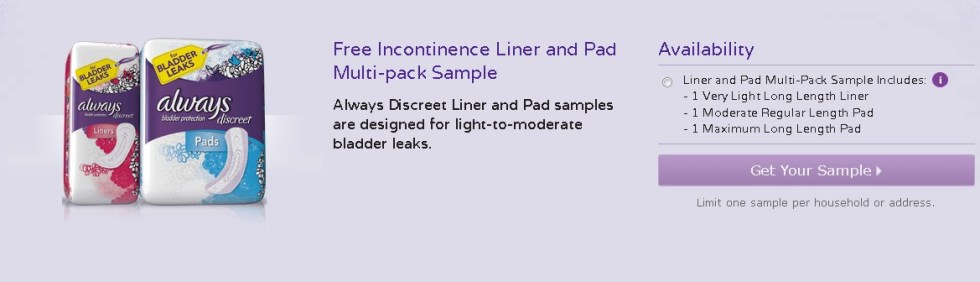 Free Incontinence Liner and Pad Multi-pack Sample at Always Discreet USA