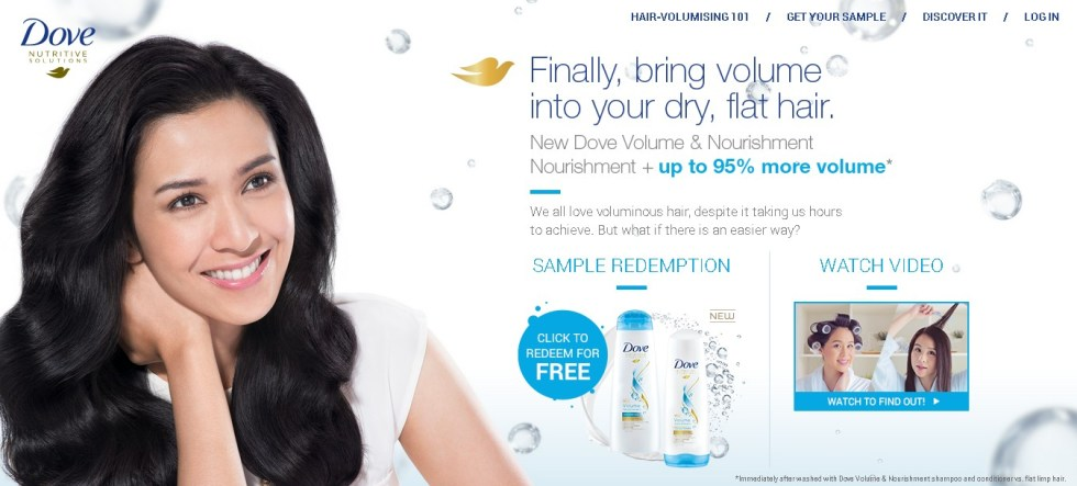 Free New Volume & Nourishment Shampoo at Dove Malaysia