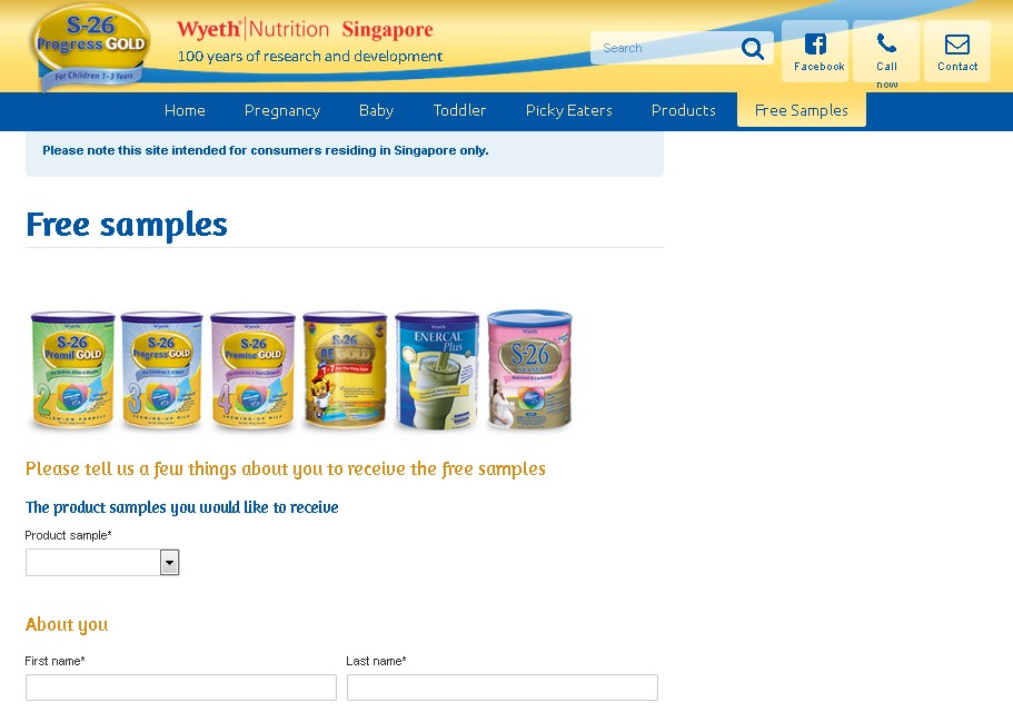 Free Sample at Wyeth Nutrition Singapore