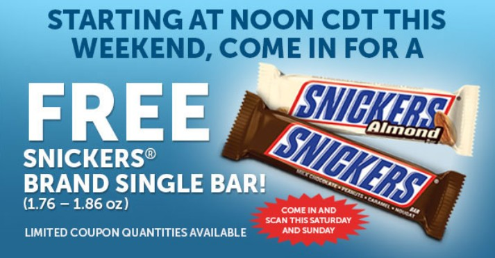Free Snickers Bar at 7-Eleven this weekend