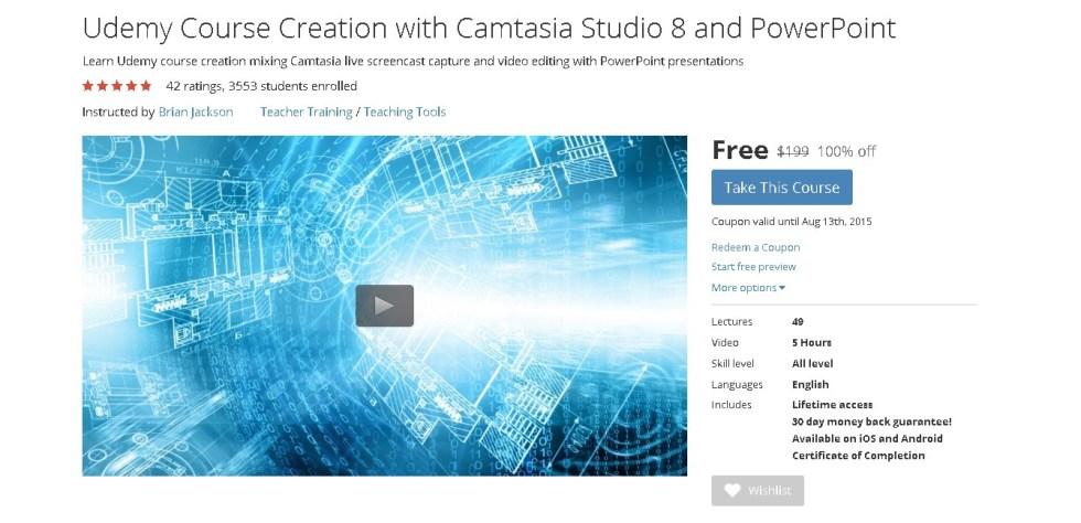 Free Udemy Course Udemy Course Creation with Camtasia Studio 8 and PowerPoint