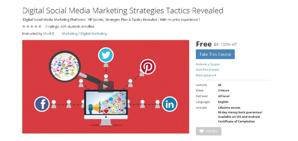 Free Udemy Course on Digital Social Media Marketing Strategies Tactics Revealed