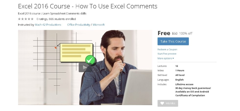 Free Udemy Course on Excel 2016 Course - How To Use Excel Comments