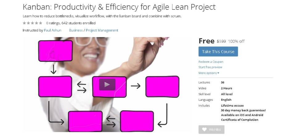 Free Udemy Course on Kanban Productivity & Efficiency for Agile Lean Project