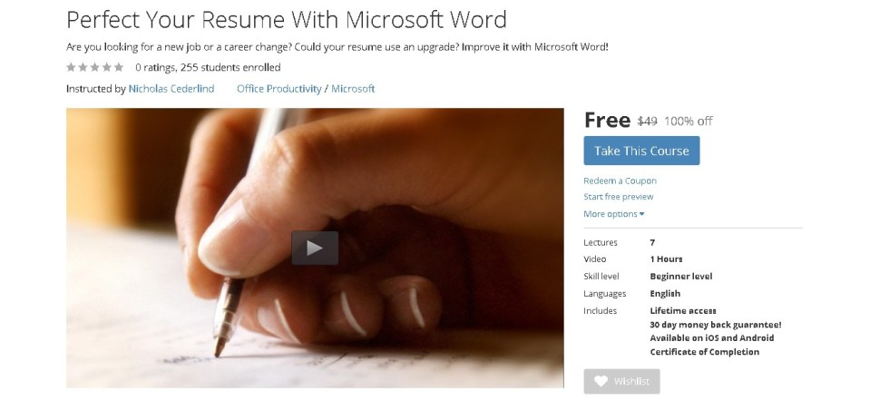 Free Udemy Course on Perfect Your Resume With Microsoft Word