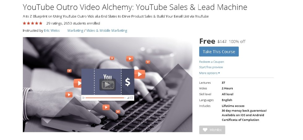 Free Udemy Course on YouTube Outro Video Alchemy YouTube Sales & Lead Machine