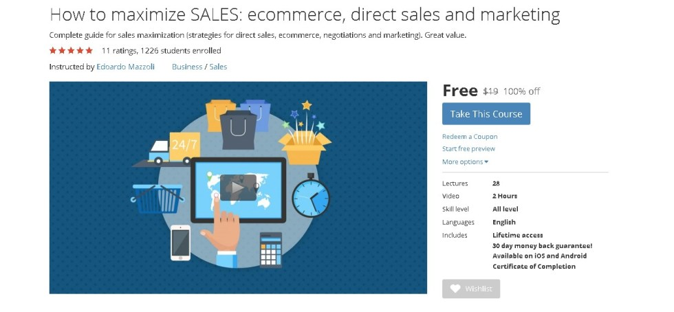 Free Udemy Course onHow to maximize SALES ecommerce, direct sales and marketing