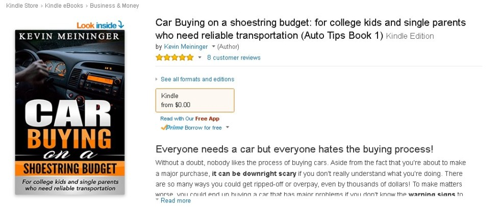 Free eBook at Amazon Car Buying on a shoestring budget for college kids and single parents who need reliable transportation (Auto Tips Book 1)