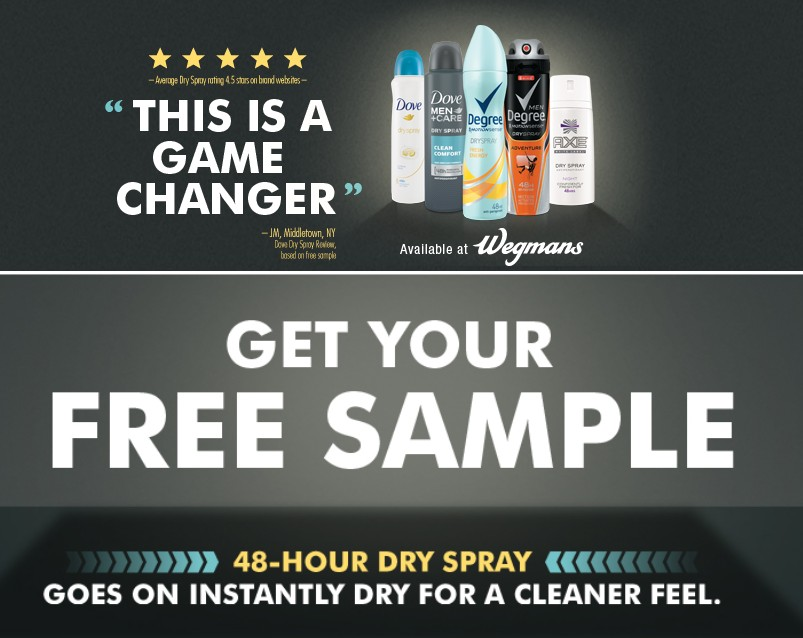 Free sample of dry spray antiperspirants