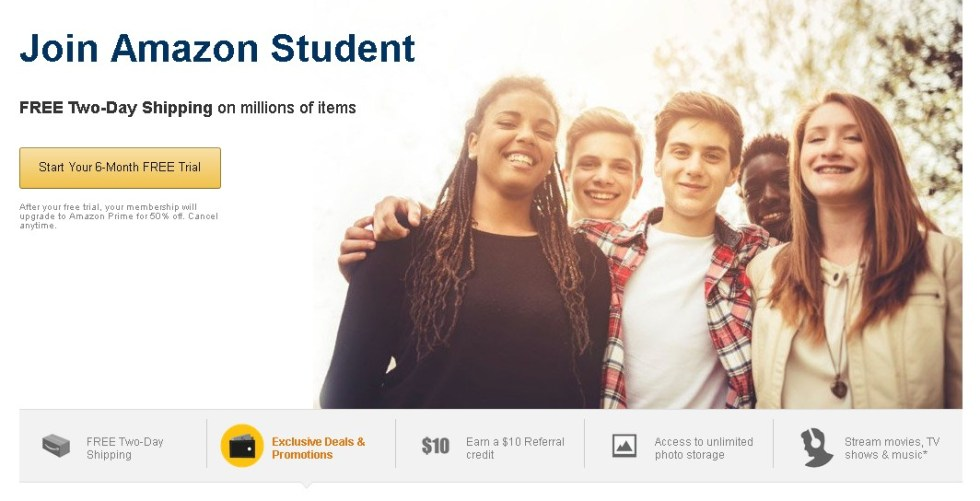 Join Amazon Student Free Unlimited Photo Storage, Free 2 day shipping & more
