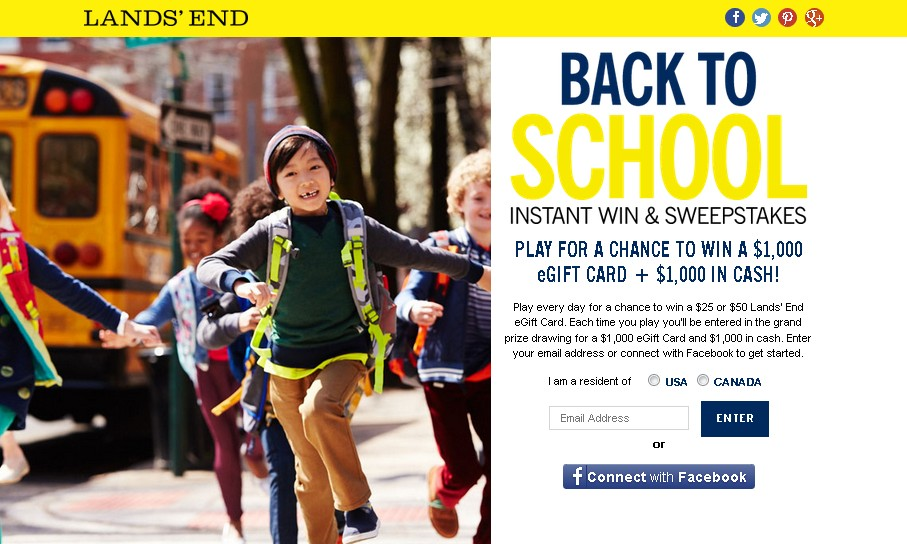 Land's End Back to School Instant Win & Sweepstakes