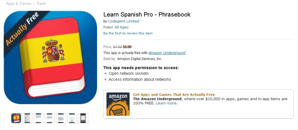 Learn Spanish Pro - Phrasebook for free at Amazon