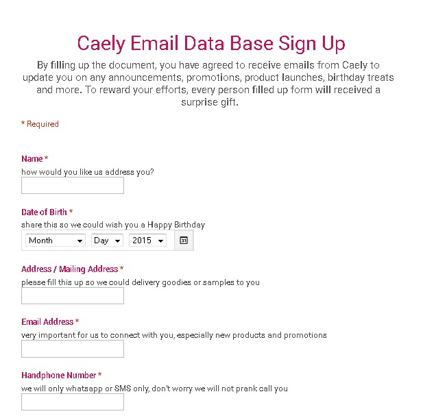 Receive a surprise gift at Caely Malaysia Form