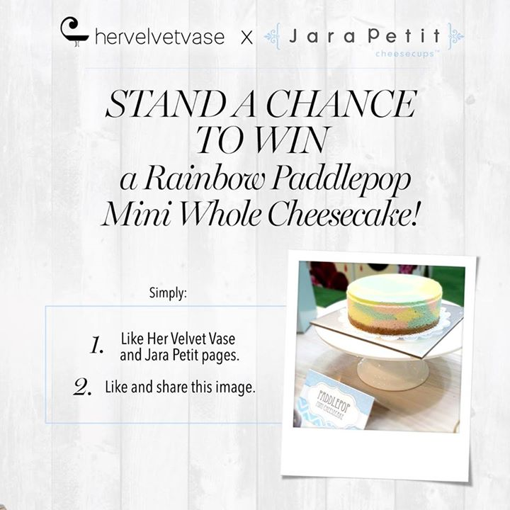 WIN a Rainbow Paddlepop Mini Whole Cheesecake at hervelvetvase + Jara Petit