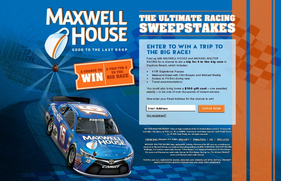 Win a trip for 4 to the big race in Daytona Beach at Maxwell House