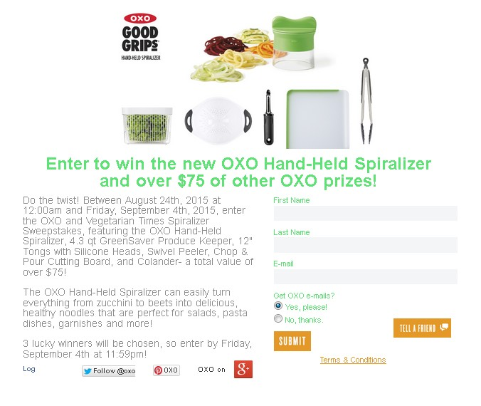Win the new OXO Hand-Held Spiralizer and over $75 of other OXO prizes 1