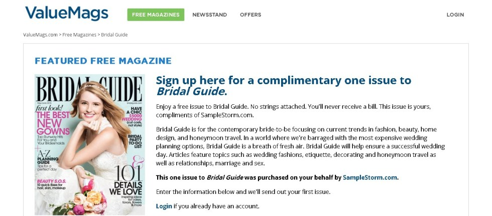 A complimentary one issue to Bridal Guide Magazin at Valuemags FORM